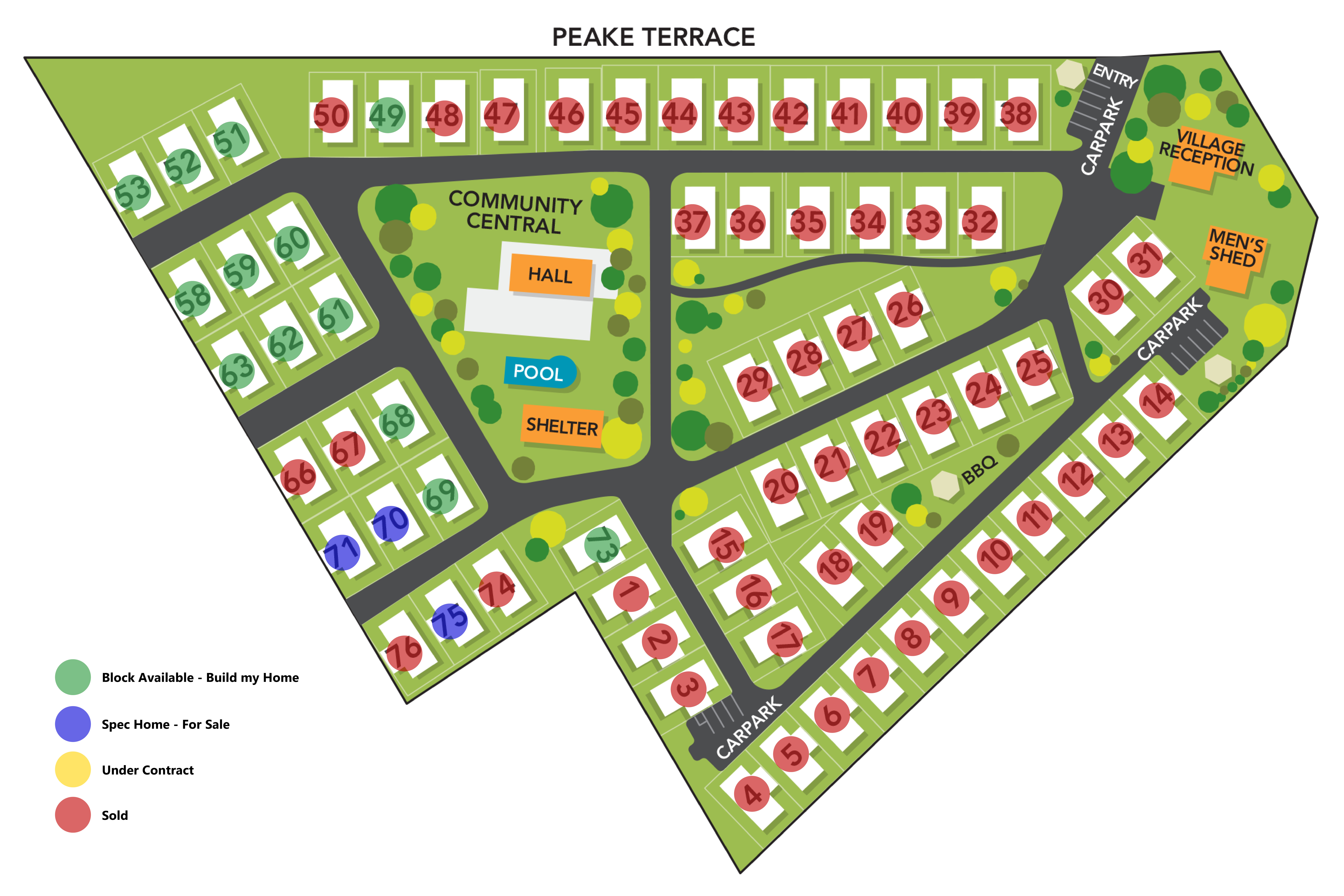 Site Map. Built Houses for Sale. Blocks of land for sale. Waikerie Lifestyle Village. Waikerie, South Australia.